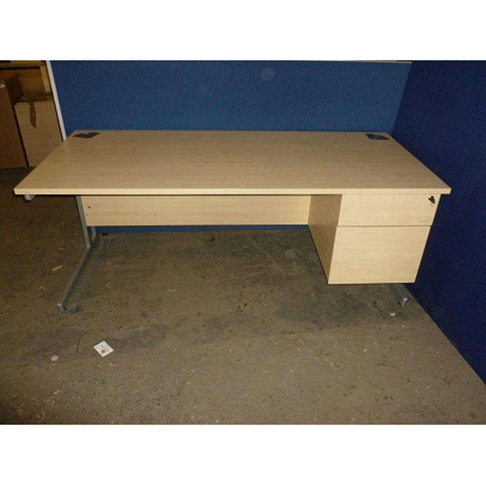 Used 1800mm Straight Single Ped Desk In Maple